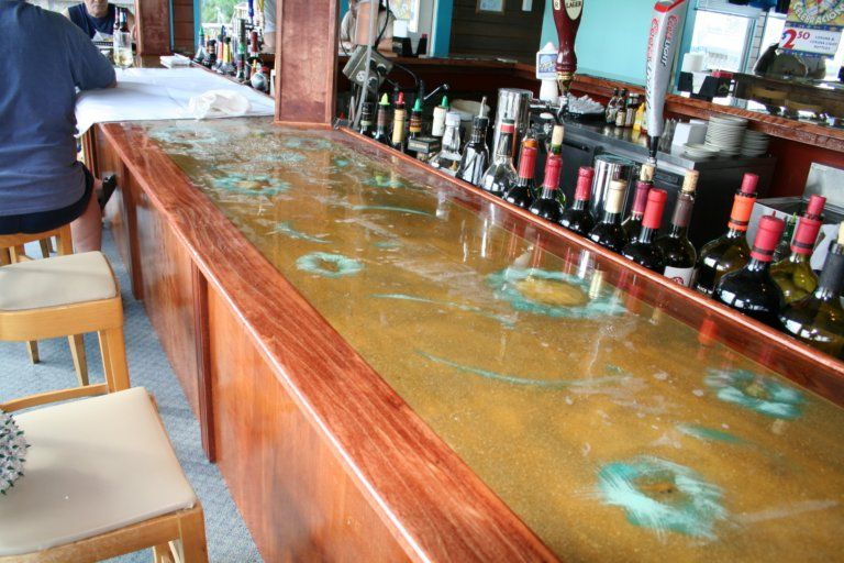 Poured Epoxy Resin Bar    A Clear Epoxy Can Be Poured Into A Cavity/