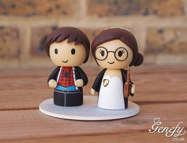 Gorgeous Geeky Cake Toppers Spiderman And Harry Potter Wedding