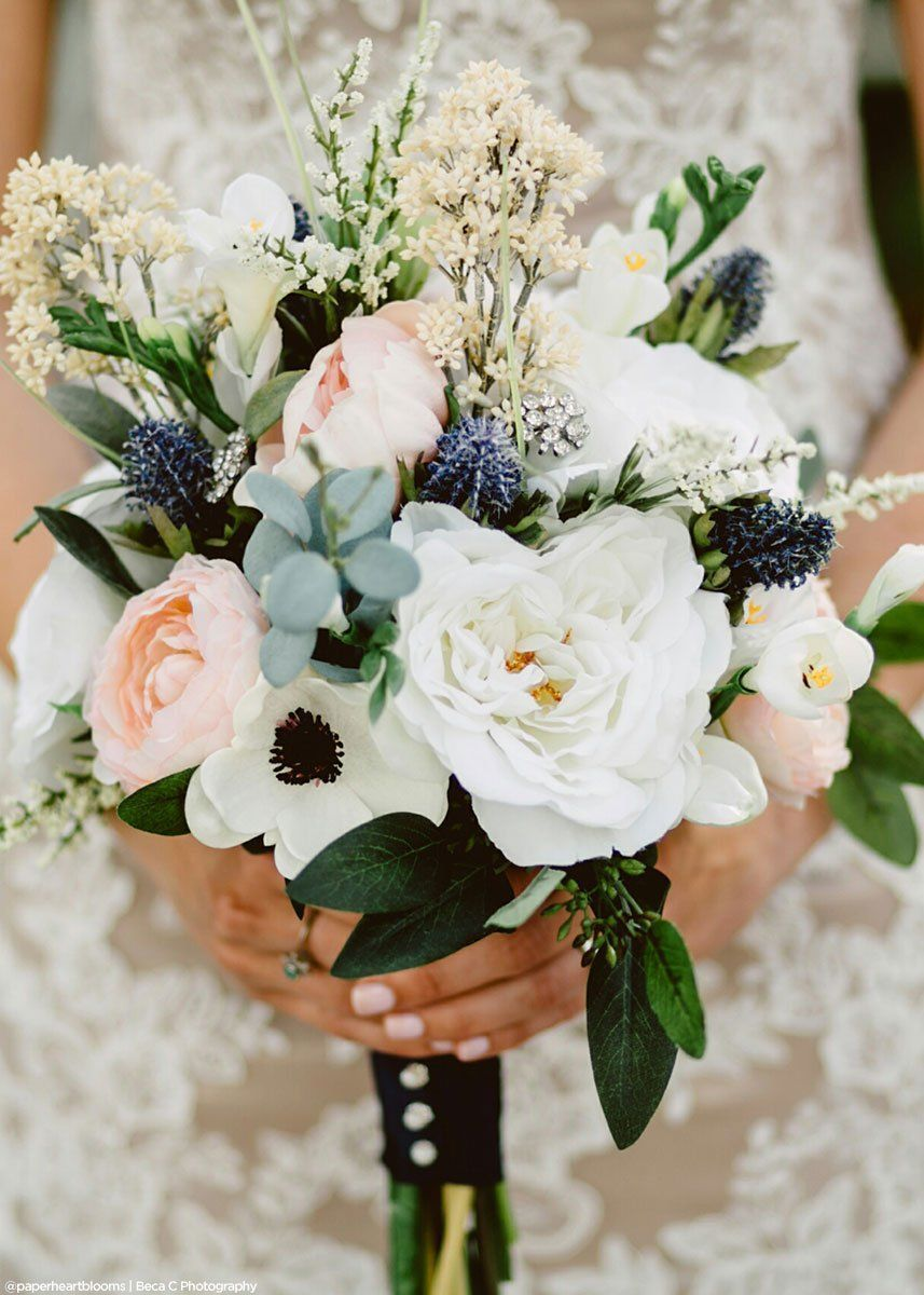 Navy Blue Thistles Artificial Fall Wedding Flowers Afloral Com In 2020 Fall Wedding Bouquets Wedding Flower Arrangements Fall Wedding Flowers
