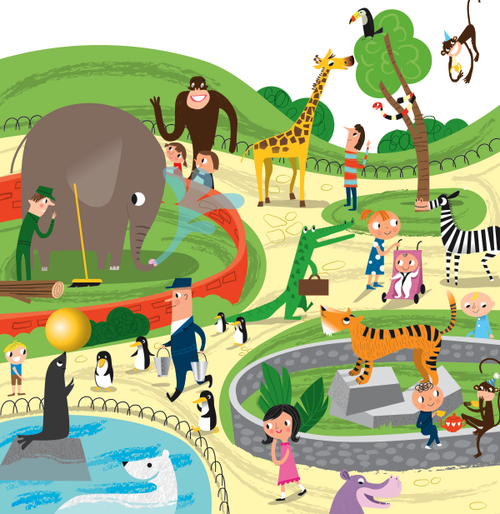 Busy Zoo by Nila Aye Zoo drawing, Children illustration
