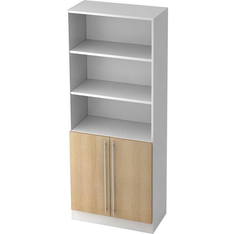 Oak / White Straight plastic handle Office cupboard …