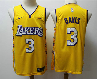 2020 Men S Los Angeles Lakers 3 Anthony Davis Yellow Nike City Edition Swingman Jersey With The Spo In 2020 Los Angeles Lakers Anthony Davis Lakers