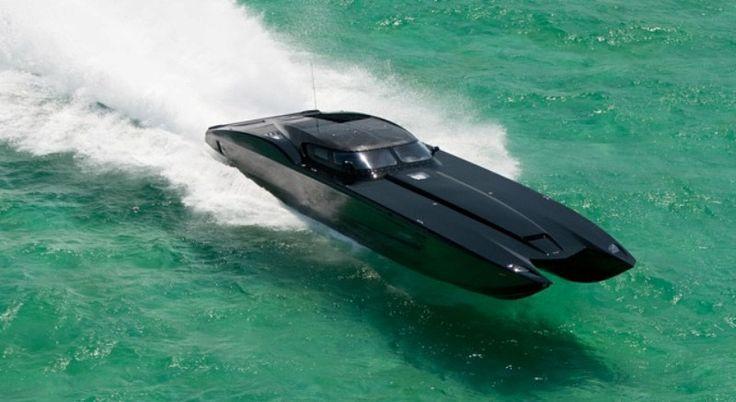 Black Corvette ZR1 Catamaran Offshore Racing Boat: Dual ...
