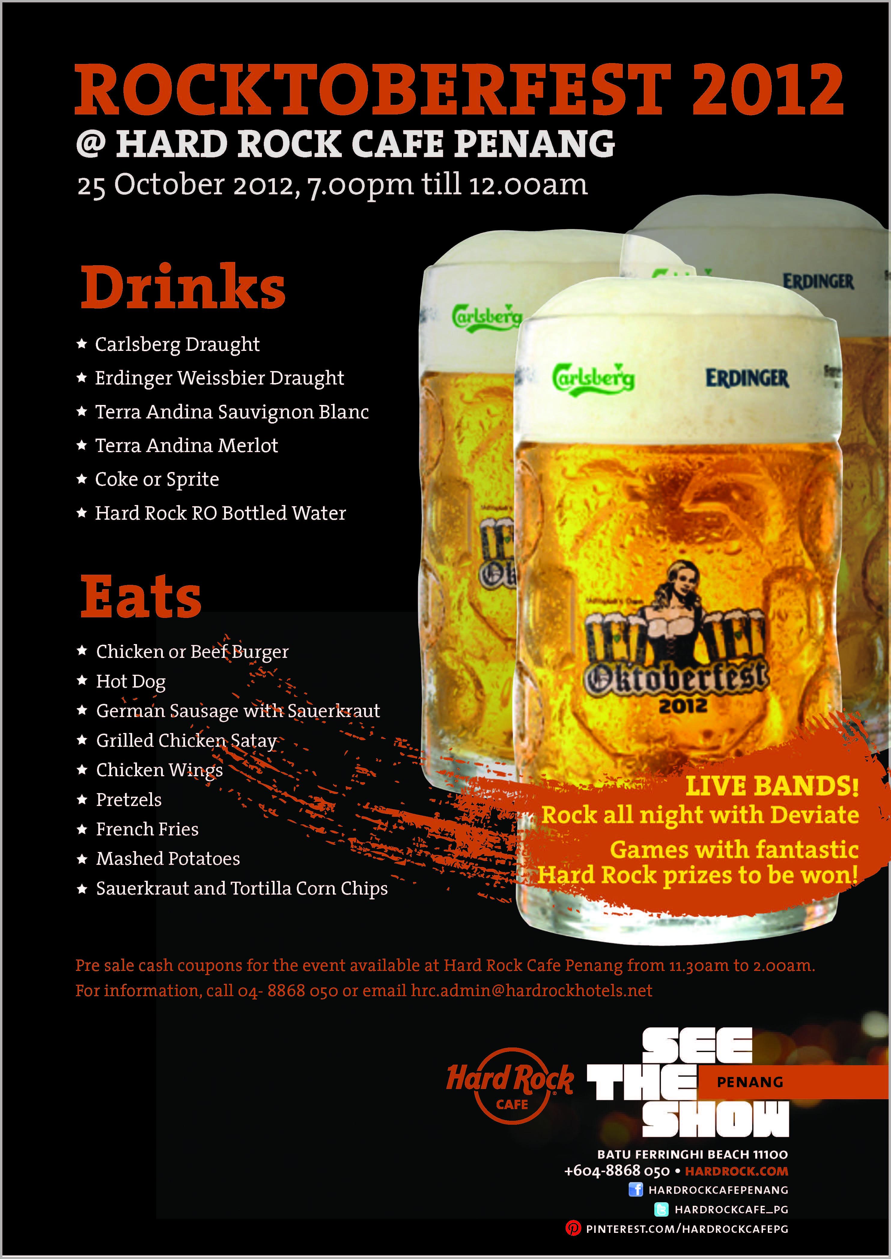 Hard Rock Cafe Penang Rocktoberfest, Be Here For Dinner,Live Band,