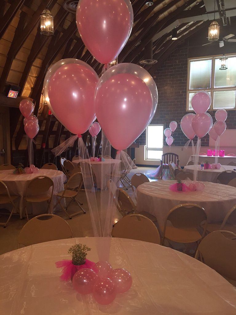 Balloons with Tulle string and Center pieces with little tutus on them