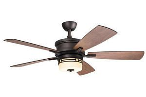 52 034 Bronze Mission Style Ceiling Fan With Remote Glass Globe