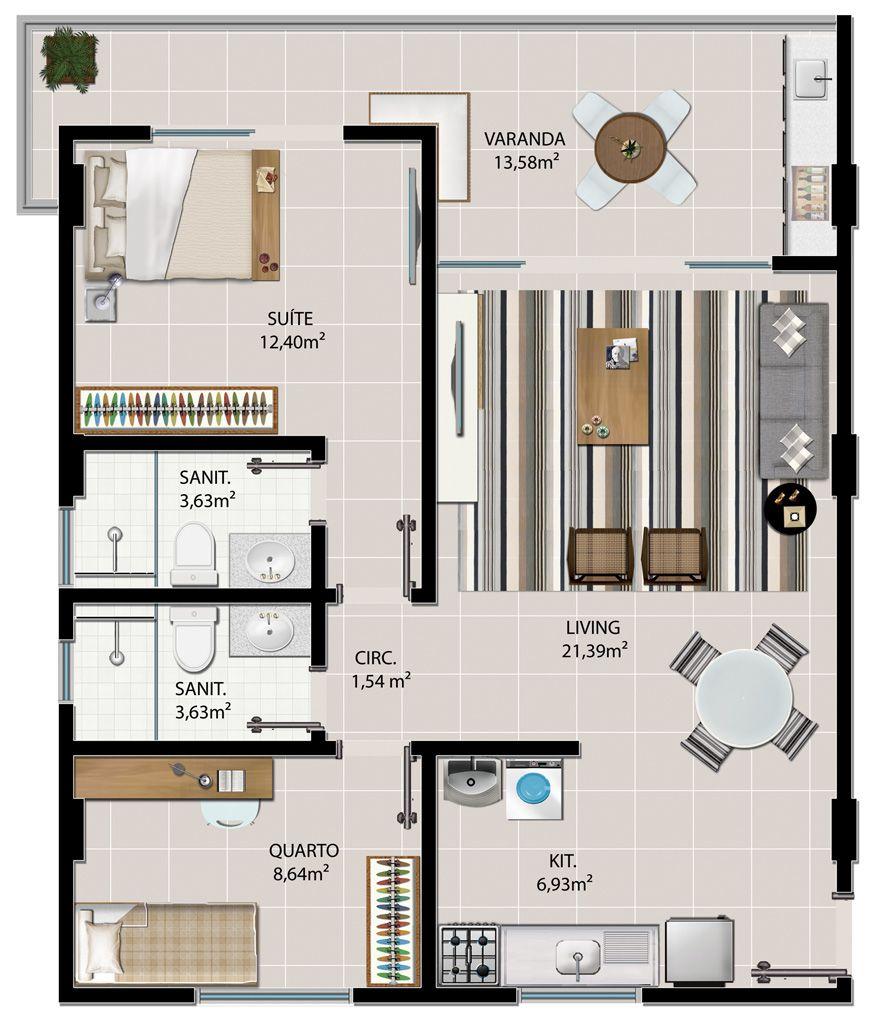 Conhecido Resultado de imagem para planta baixa apartamento 2 quartos | casa  JU47