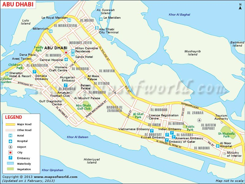 Map of Abu Dhabi City showing roads, tourist places, church ...