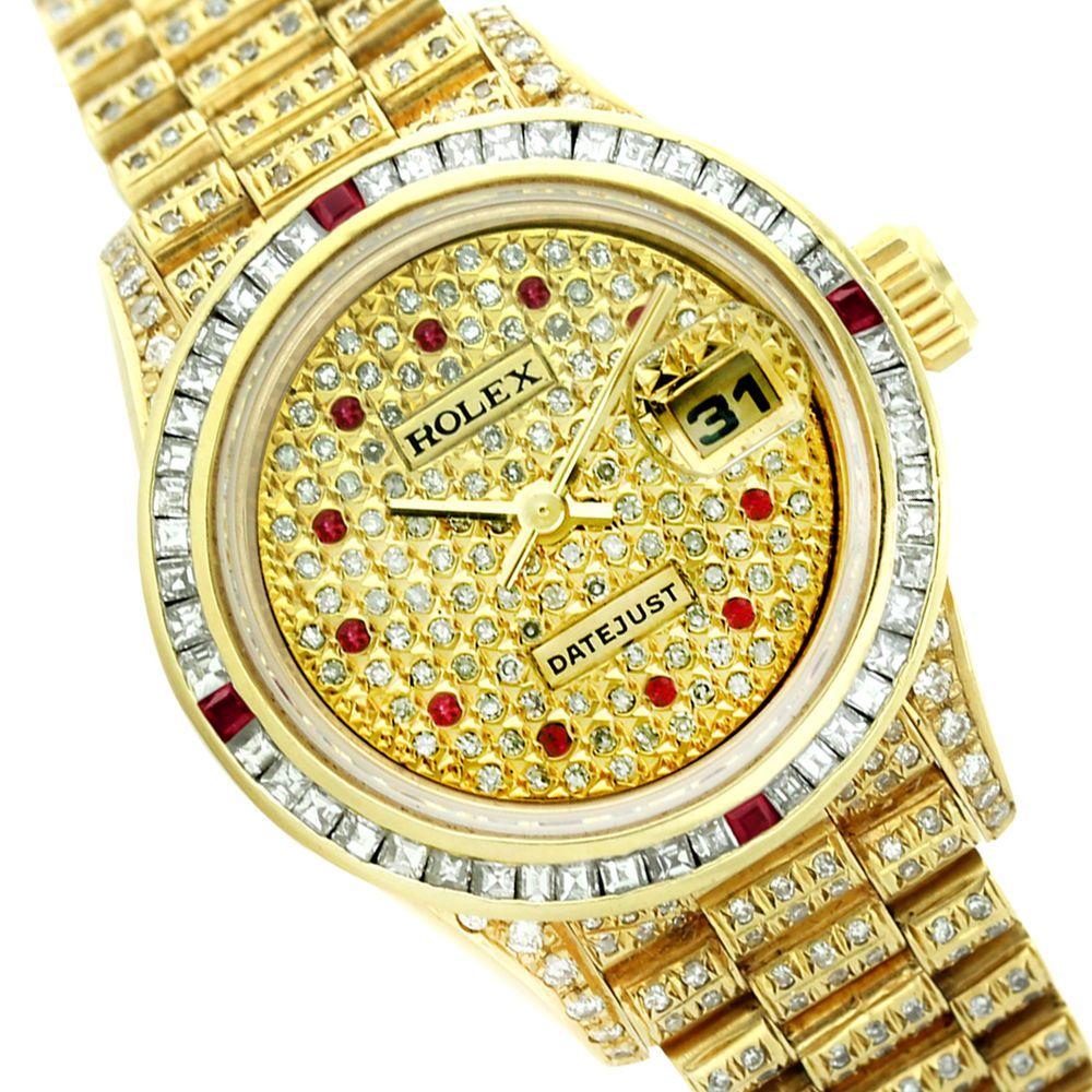 Rolex lady datejust k gold diamond pave champagne ruby mm