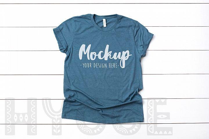 Download Tshirt Mockup Bella Canvas 3001 Heather Slate Tshirt ...
