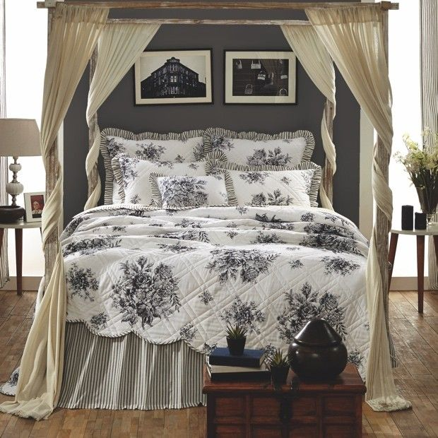 Black And White Toile Floral Bedding Toile Bedding Country Bedding Sets Bed Linens Luxury