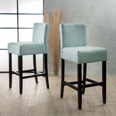 """Latitude Run Ingleside 30"""" Bar Stool Upholstery: Light Blue"""
