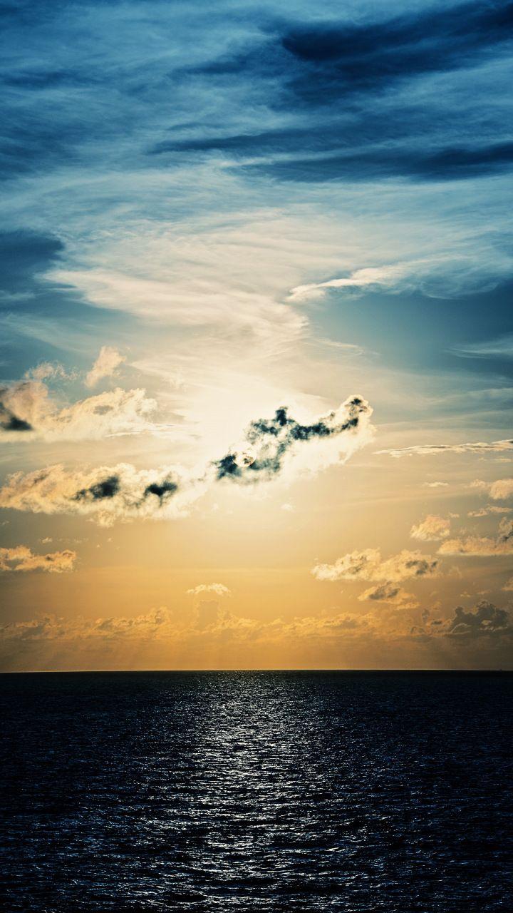 Sunset, clouds, calm sea, sky, 720x1280 wallpaper Clouds