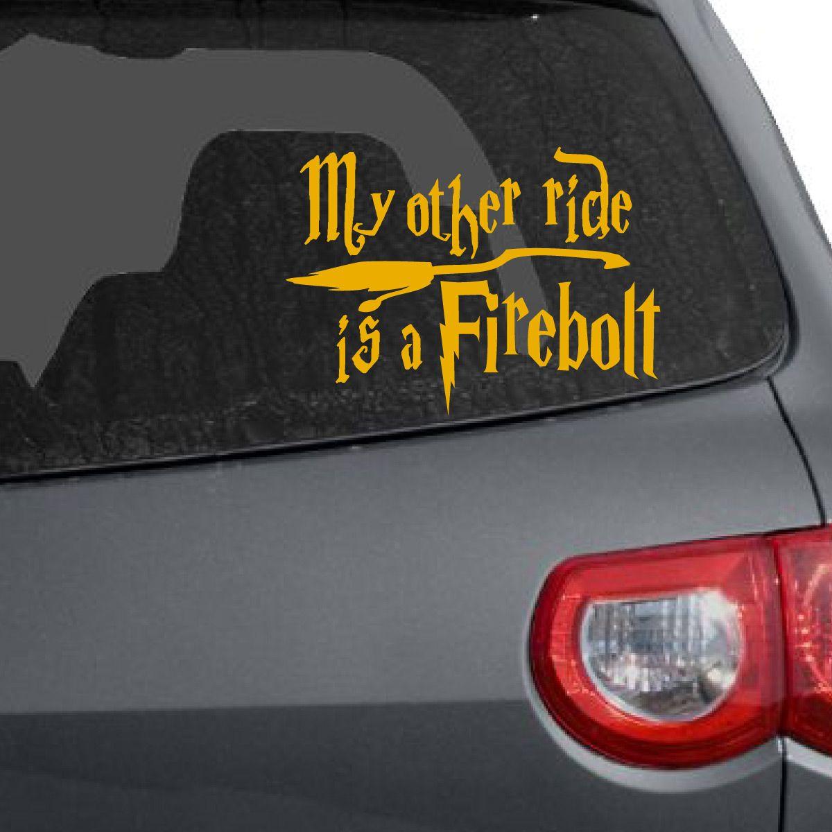 My Other Ride Is A Firebolt Car Decal Harry Potter Car Car Decals Vinyl Car Decals [ 1200 x 1200 Pixel ]