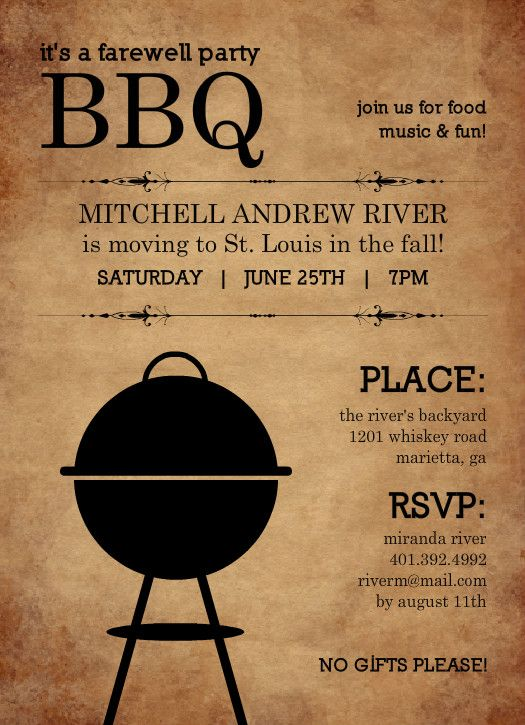 Backyard Bbq Farewell Party Invite by PurpleTrail – Farewell Party Invitation Template