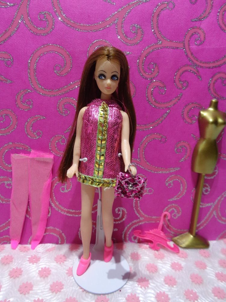 Vintage Dawn Doll Longlocks Wearing Her Box Issued ''Pink Mini With Gold Chain'' #DollswithClothingAccessories
