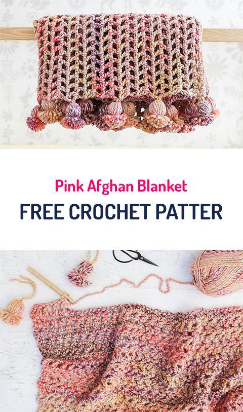 Pink Afghan Blanket Free Crochet Pattern #crochet #yarn #homedecor ...
