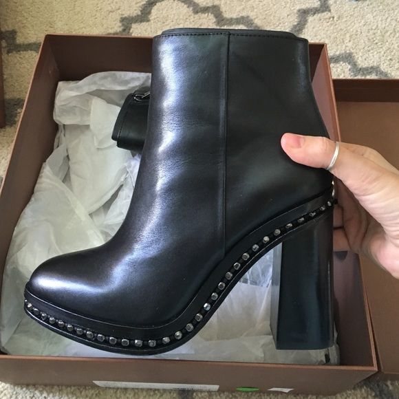 cheap sale the cheapest newest online Coach Leather Spiked Booties cheap low shipping fee cheap sale footlocker finishline store sale online AKDPwT3li