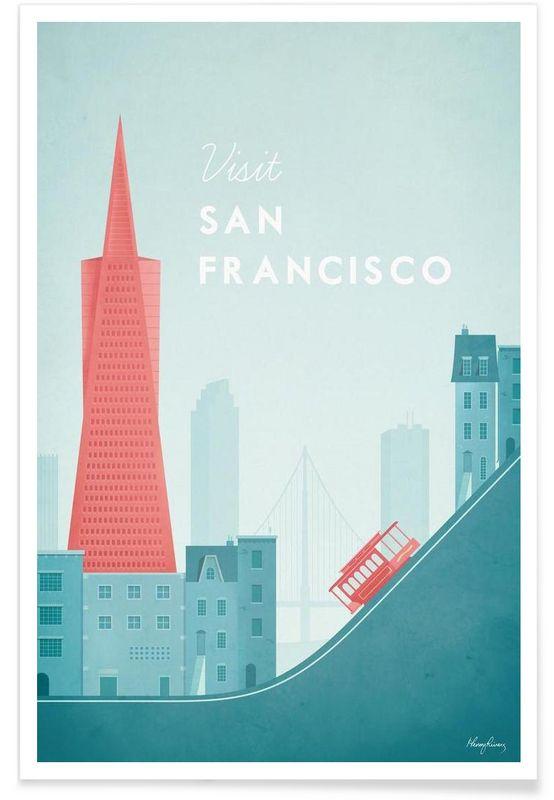 San Francisco vintage style travel poster Transamerica pyramid building at night