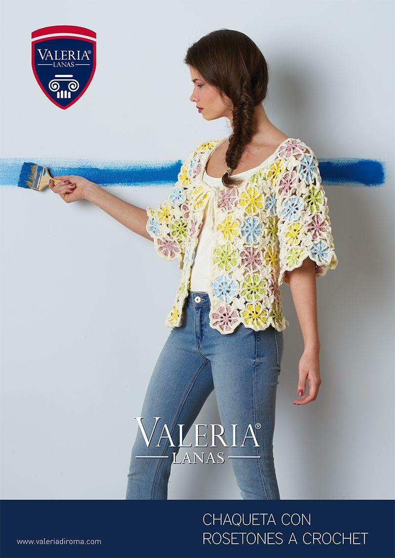 Patrón gratuito: Chaqueta de rosetones a crochet con Valeria lanas ...