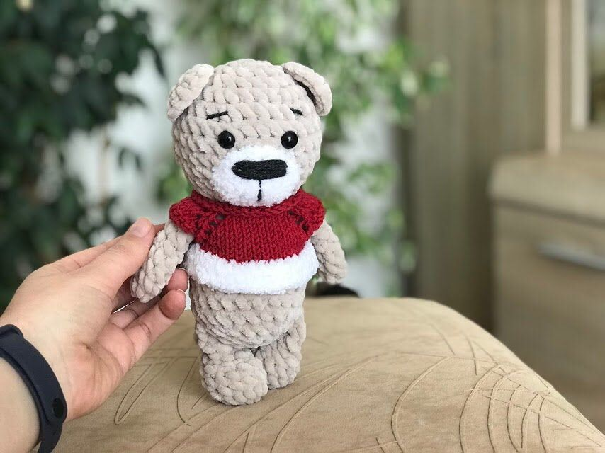 Crochet teddy bear plush toy for kids stuffed animal baby shower gift nursary decor for baby crib bear toy bear baby toys new baby gifts #bearplushtoy