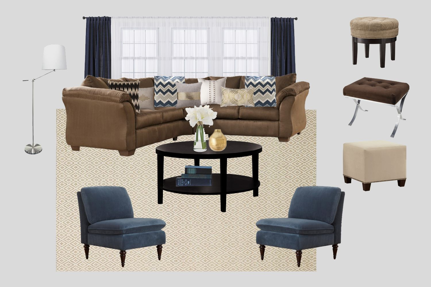 Formal Living Room Color To Accent Navy Dining Walls With L Shaped Couch