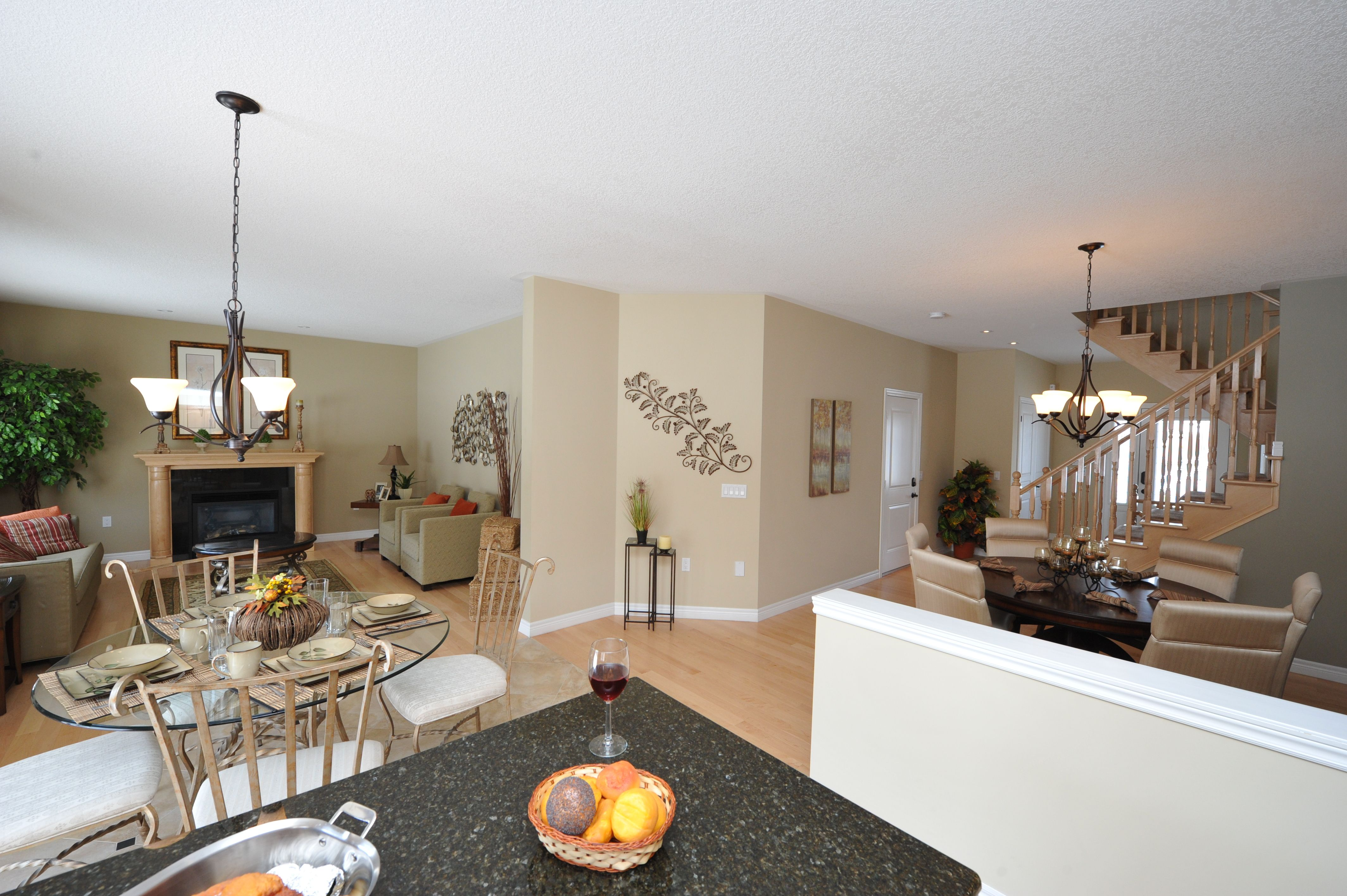 Open concept kitchen, dining room, and family room. | Aspen Model ...