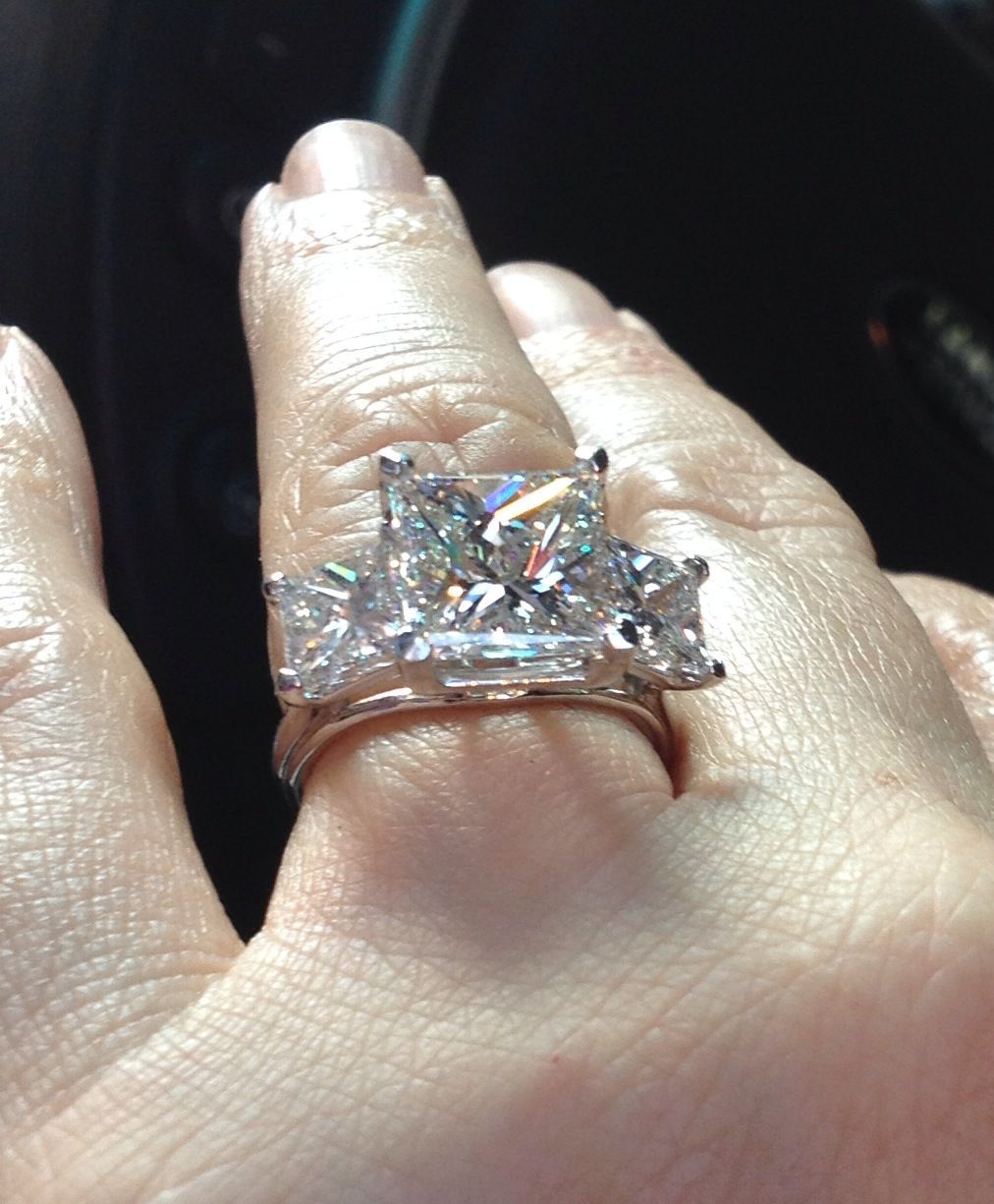 5 carat princess cut center stone three stone princess. Black Bedroom Furniture Sets. Home Design Ideas