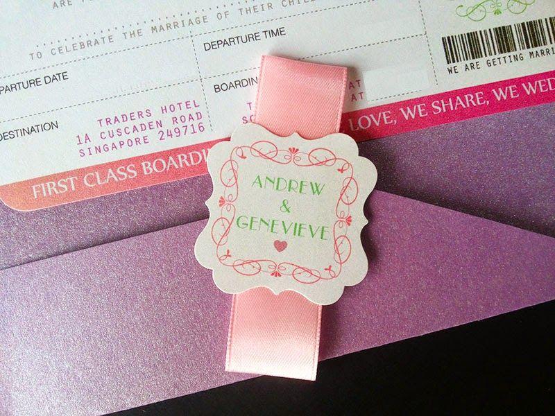 Kad Kahwin Tiket Boarding Pass Handmade Wedding Card and Favours - best of wedding invitation card kota kinabalu