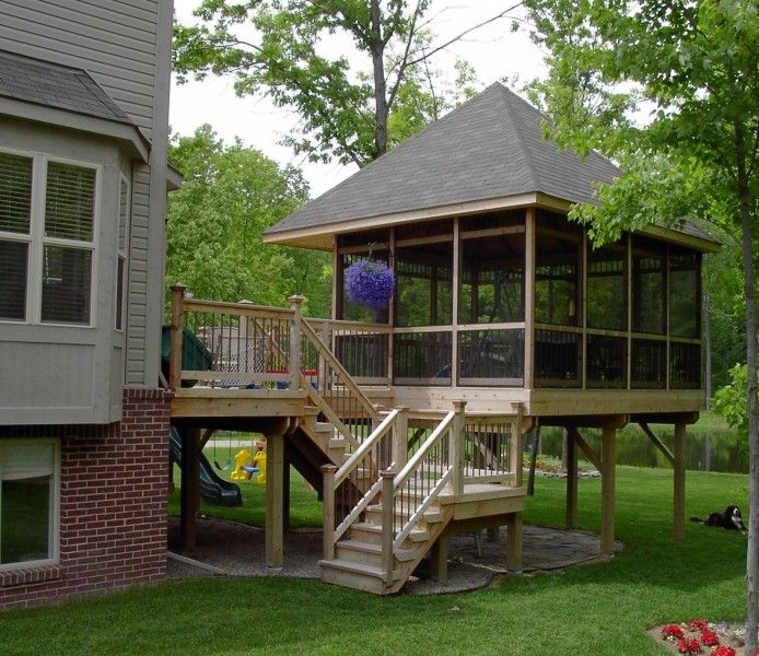 Screened in deck great place for a hot tub porch for for Deck with gazebo