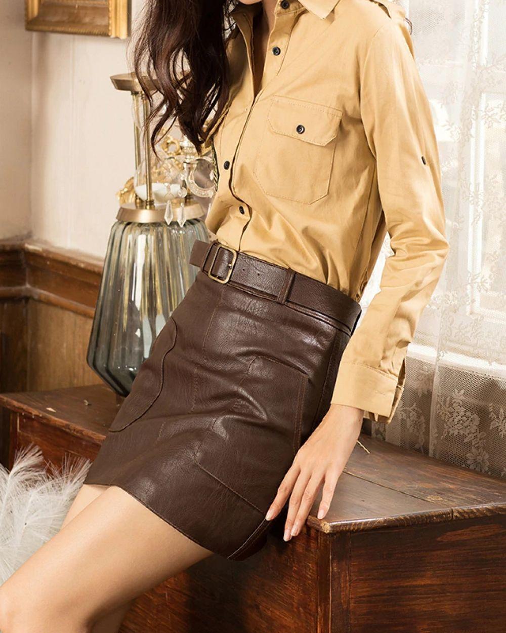 💗 Mini falda lápiz de cuero PU con bolsillos al frente, con envío GRATIS donde sea que vivas!.