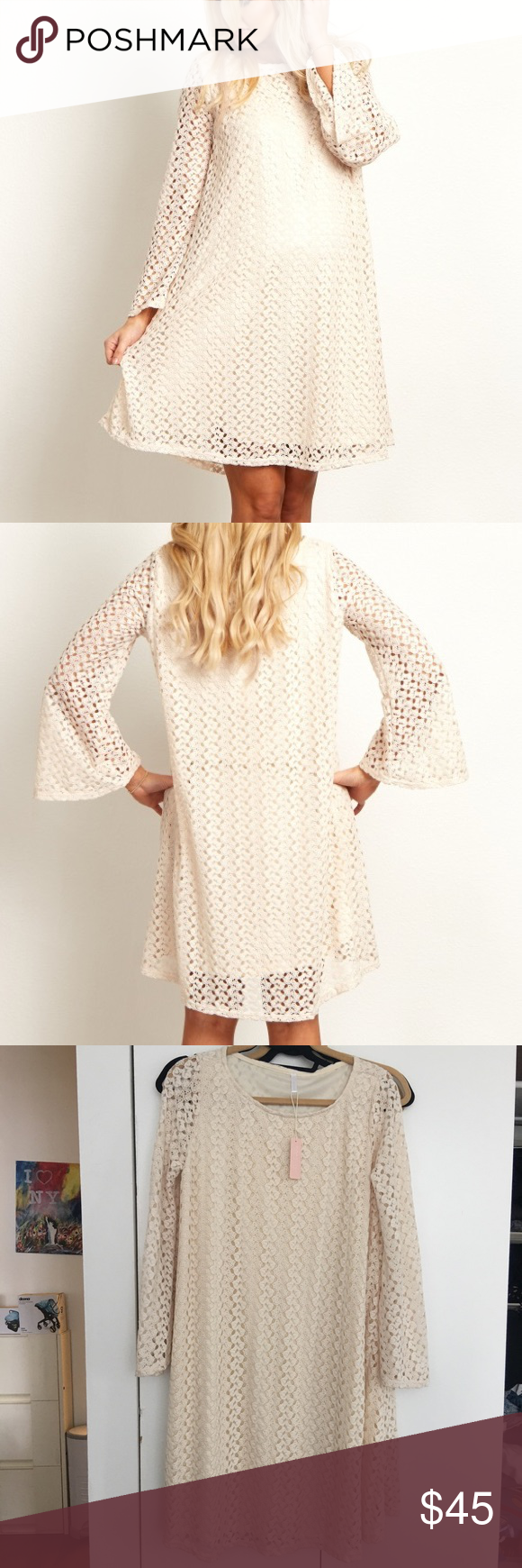 Bell sleeve maternity dress pink blush maternity nwt pink blush bell sleeve maternity dress pink blush maternity beige open lace overlay bell sleeve maternity dress from ombrellifo Image collections