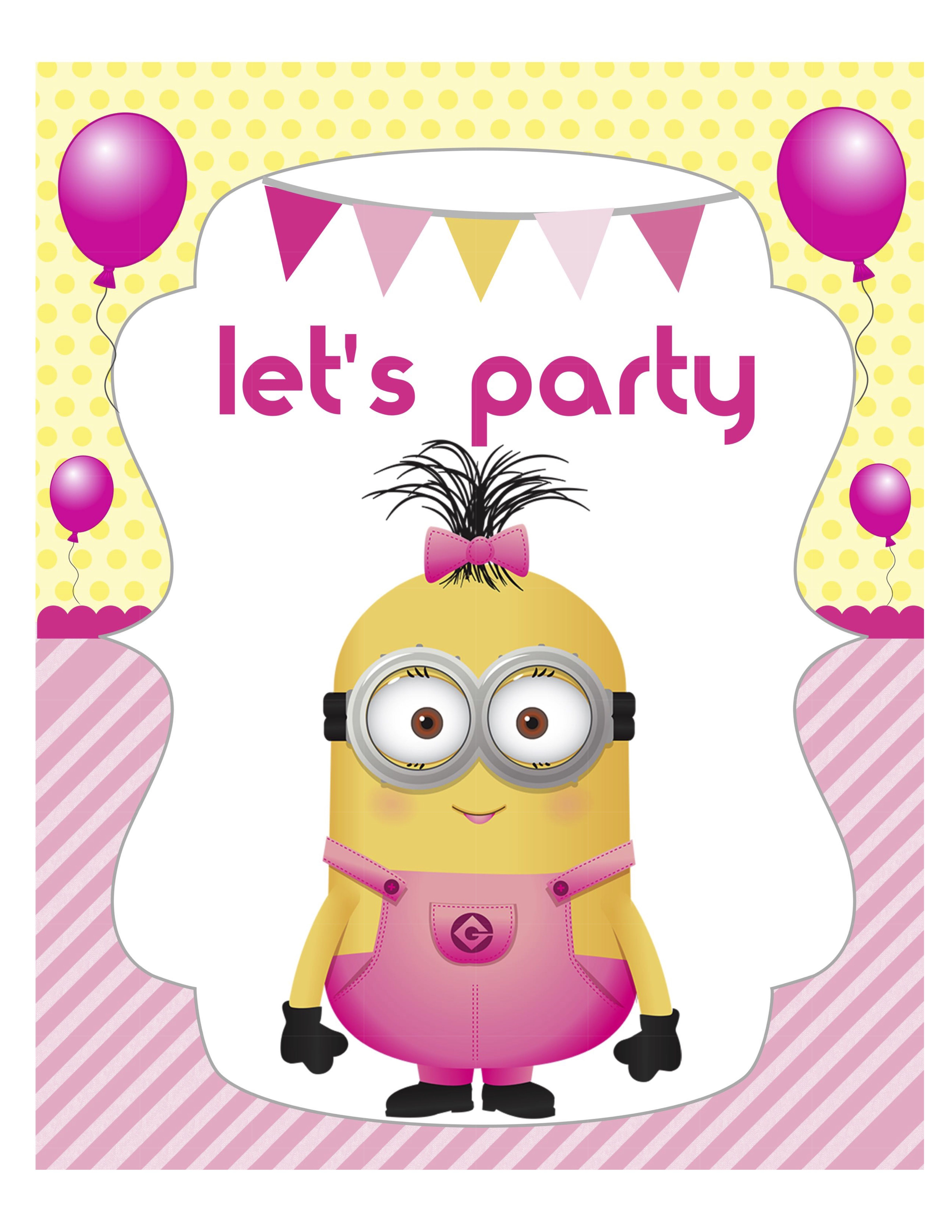 Party Sign Minion Girl With Images Minion Girl Party Minion Party