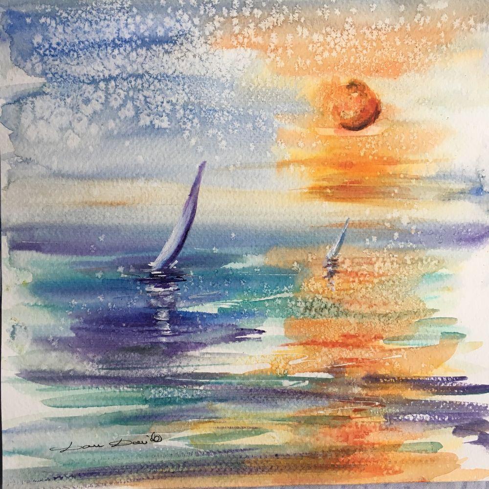 Aquarelle Originale Damdomido Marine Bateaux Seascape Artprice
