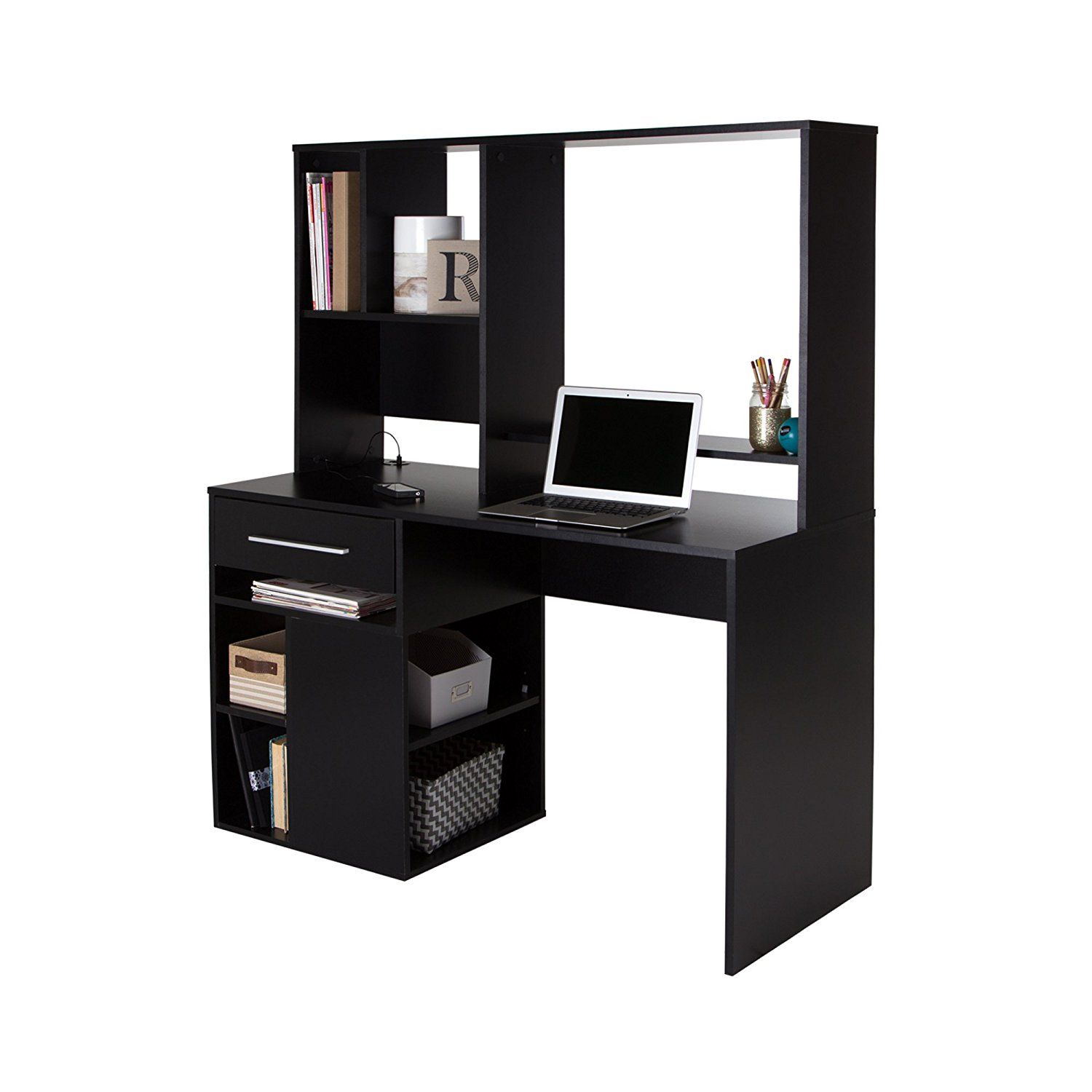South S Annexe Home Office Computer Desk Pure Black Accessories