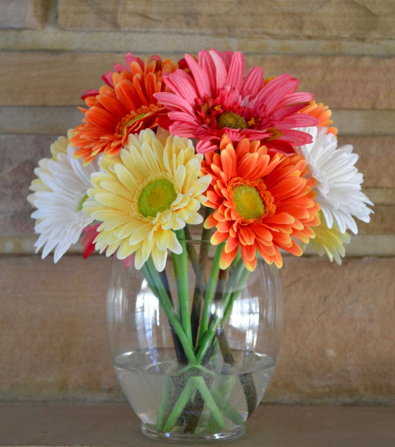 Gerbera Daisy Flower Arrangement In Glass Vase Faux Water
