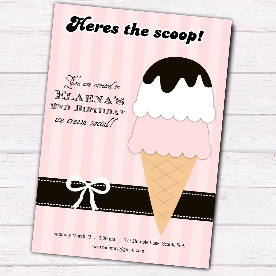 cream Retro social invitations ice