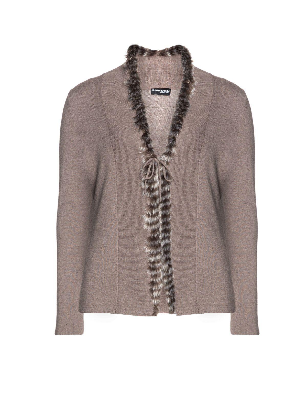 Cardigan with fur trim by Samoon Shop Now: navabi