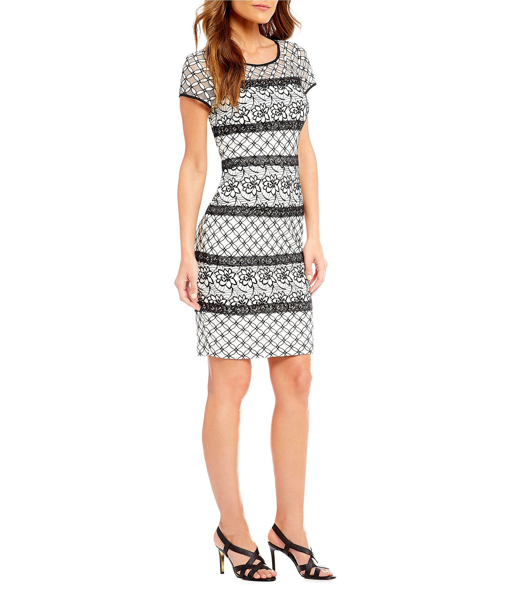 Shop For Adrianna Papell Twin Lace Cap Sleeve Sheath Dress