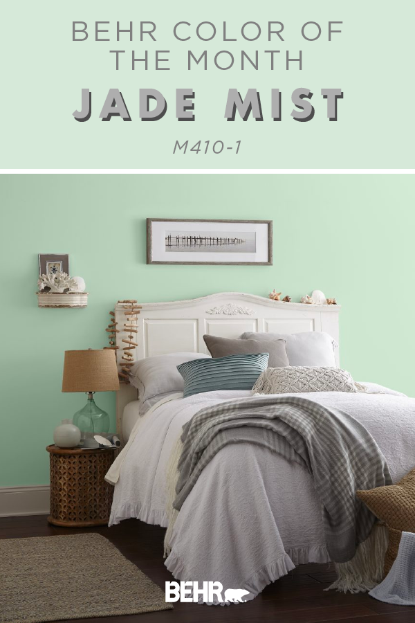 Color Of The Month Jade Mist Colorfully Behr Green Master Bedroom Bedroom Wall Colors Bedroom Paint Colors