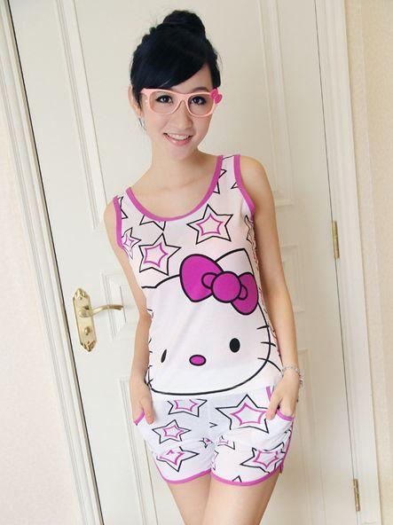 gorgeous tank top pajamas sets | ... Pajamas&Robes Cute Girls Star ...