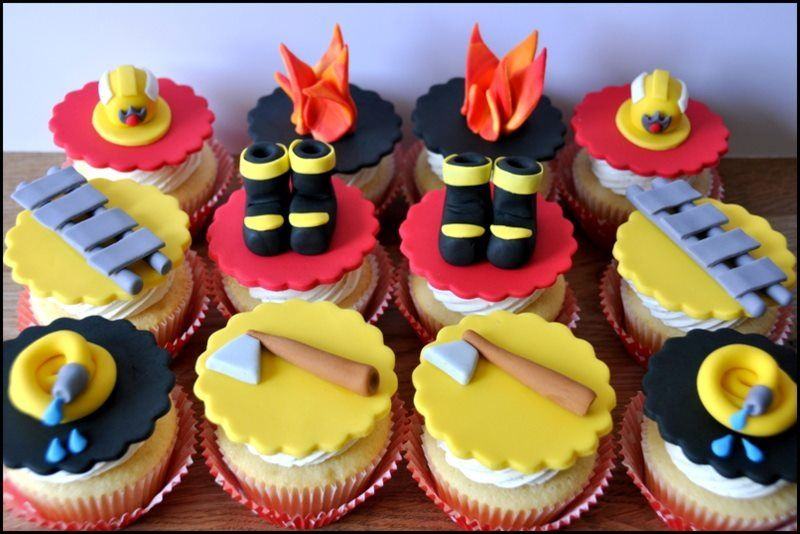 fireman cupcakes by be sweet by maria cupcakecake. Black Bedroom Furniture Sets. Home Design Ideas