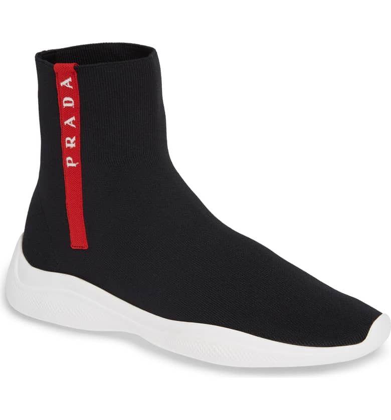 Prada Logo Band Sock Sneaker (Women