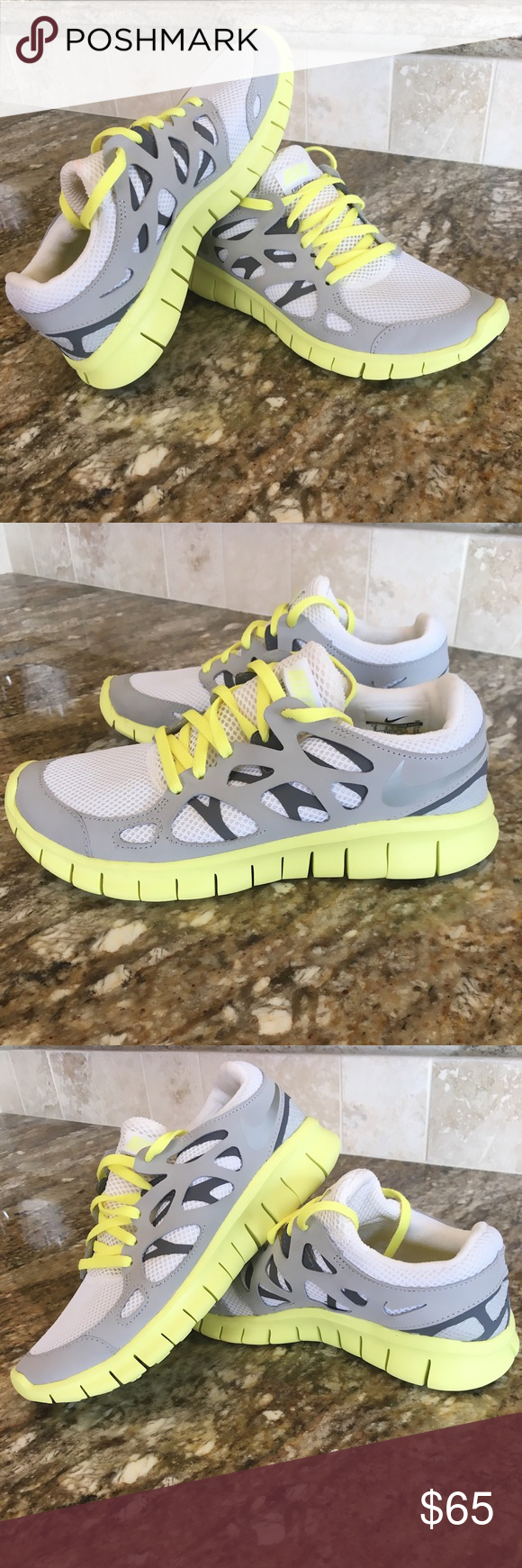 huge discount ddce3 6a444 Women s Nike Free Run +2 White Metallic Silver- Street Grey  Cool Grey Like  new without box Nike Shoes Sneakers