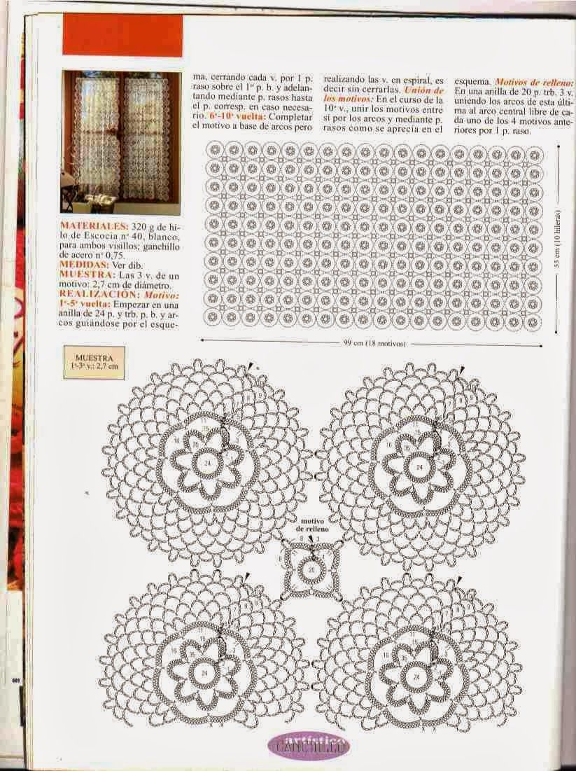 Cortina de Circulos Patron - Patrones Crochet | cortinas crochet ...