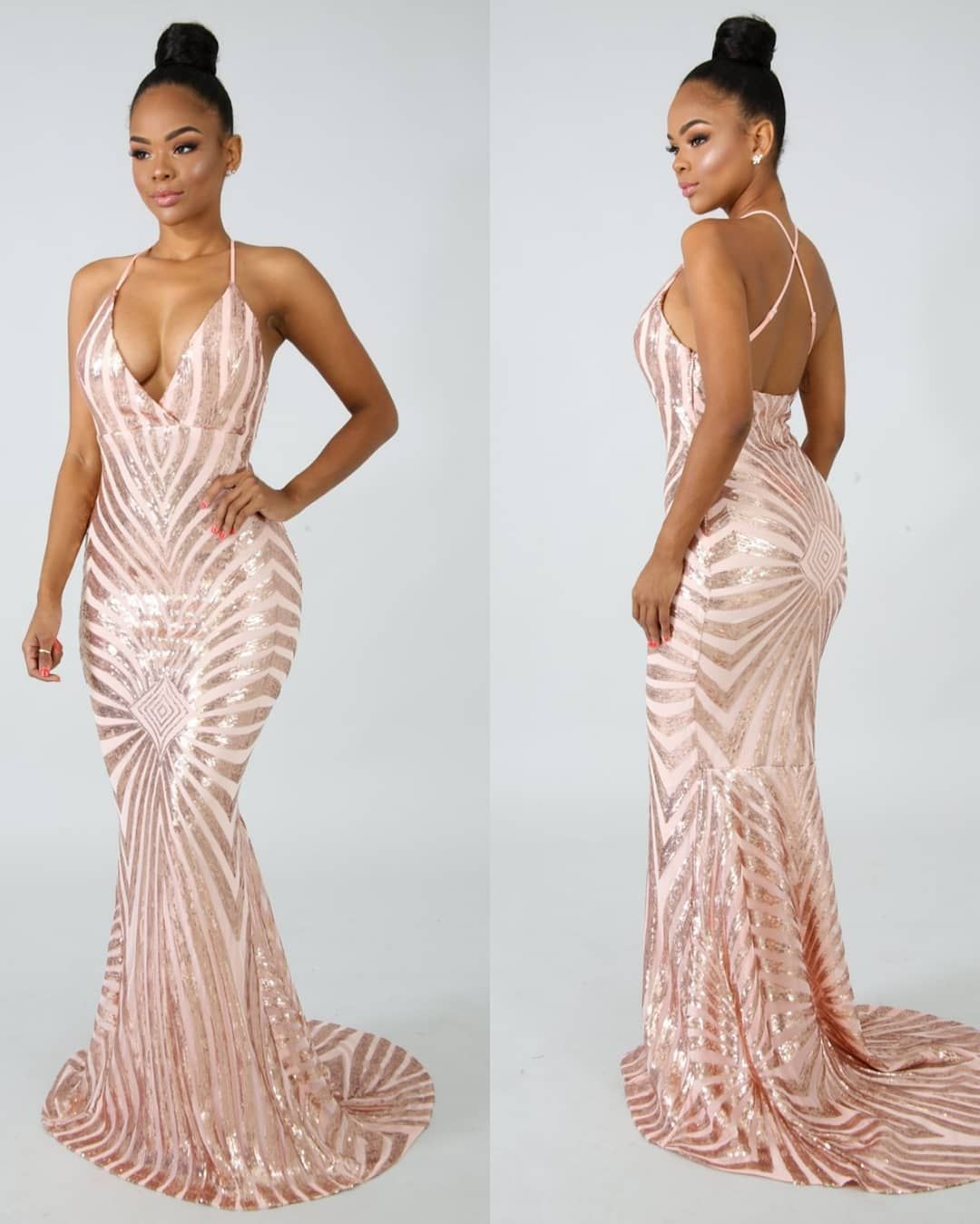 Sexy straps rose gold sequins mermaid long evening dress formal