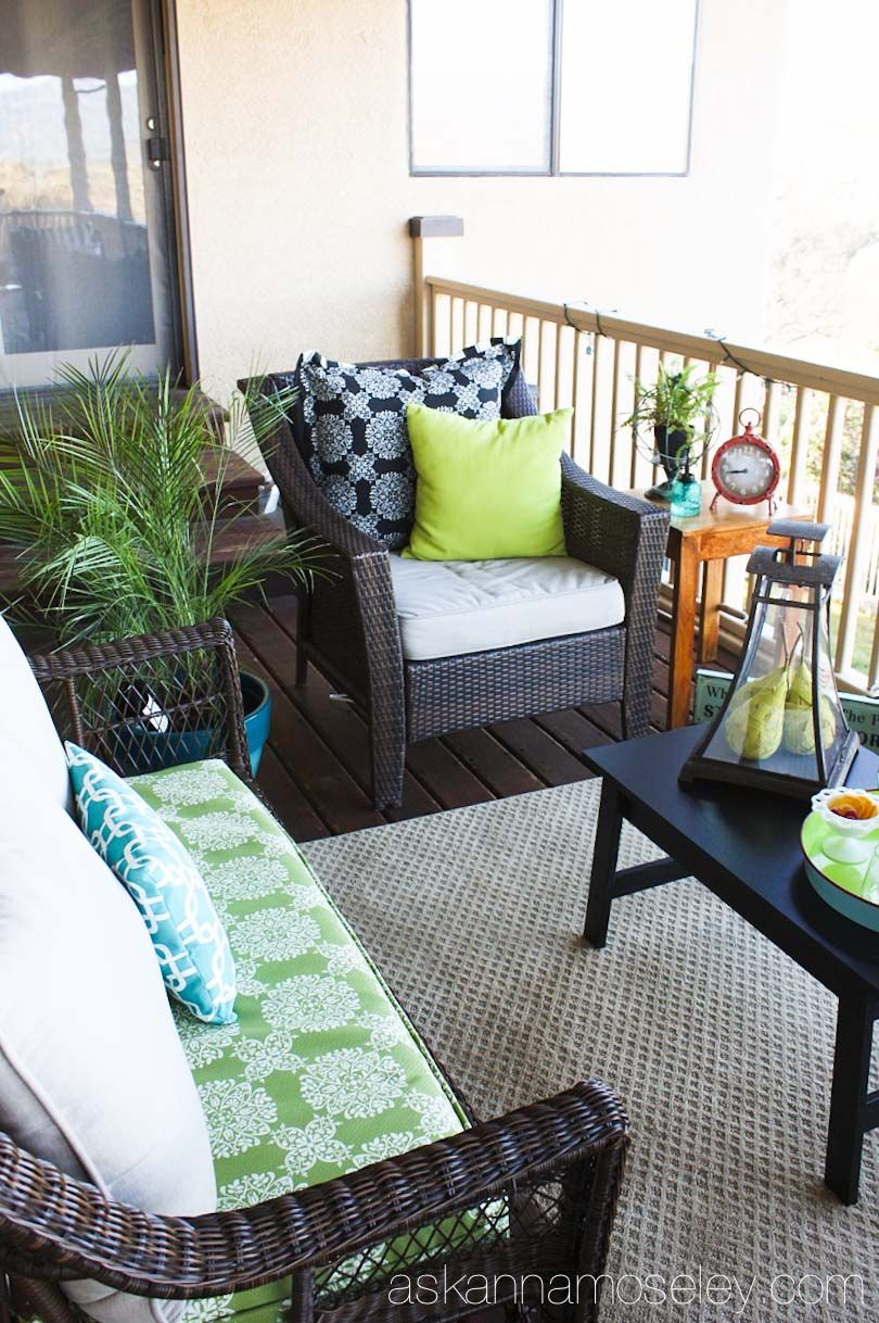 My Beautiful Deck Makeover With Bhg Ask Anna Patio Furniture Makeover Apartment Patio Decor Deck Furniture Layout