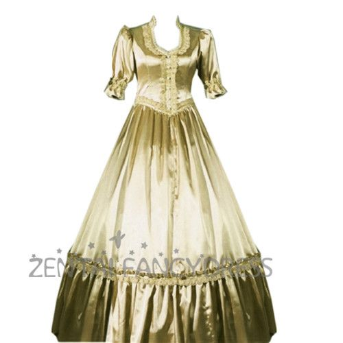 Champagne Gold Satin Long Sleeve Classic Lolita Dress Cosplay Party Costume