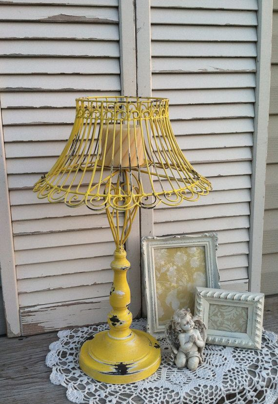Unique yellow french country lamp candle holder scrolled lamp with candleholder