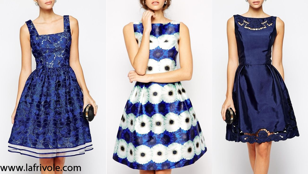 full midi prom dress skater dress in embroidered or floral satin or in lace navy blue and white